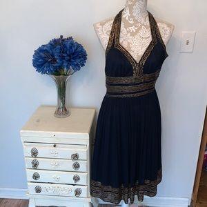 Adriana Pappel Silk Navy Halter Dress Gold Sequins